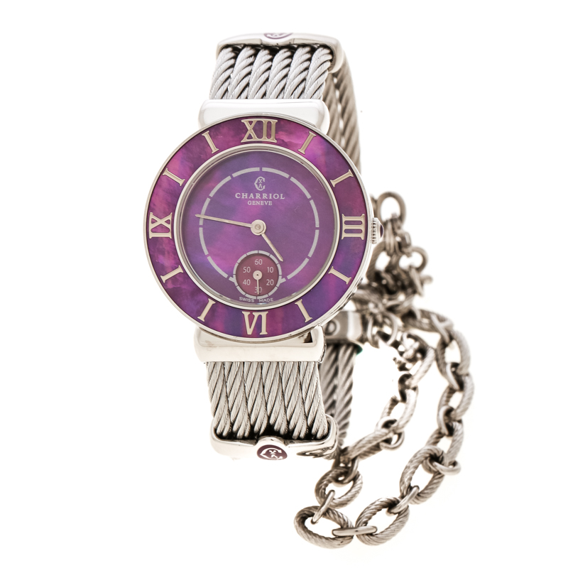 3ada752c1c007 Buy Charriol Purple Mother of Pearl Stainless Steel St Tropez ST30 ...