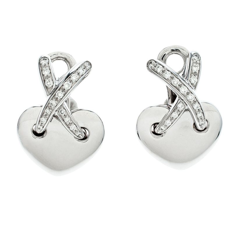 Chaumet X Crossover Liens Heart Diamond 18k White Gold Earrings
