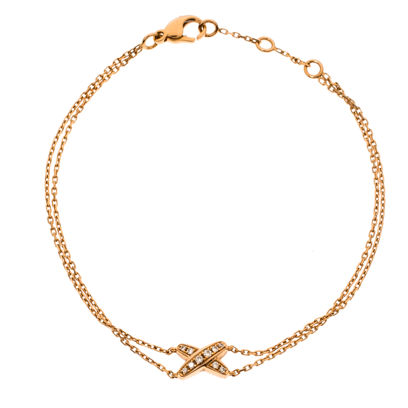 Chaumet Mini Liens Diamond 18k Rose Gold Double Chain Bracelet