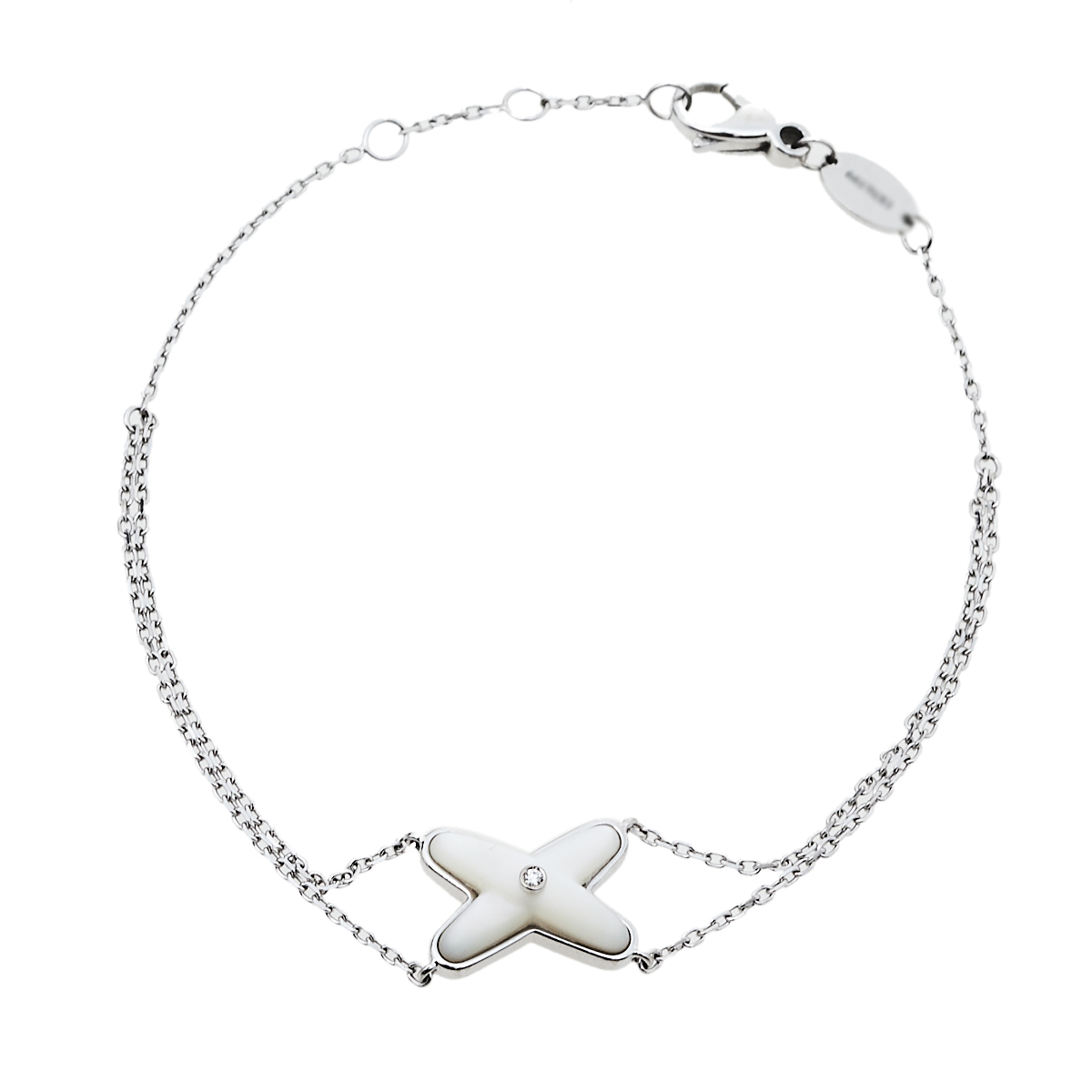 Pre-owned Chaumet Jeux De Liens Diamond Mother Of Pearl 18k White Gold Bracelet