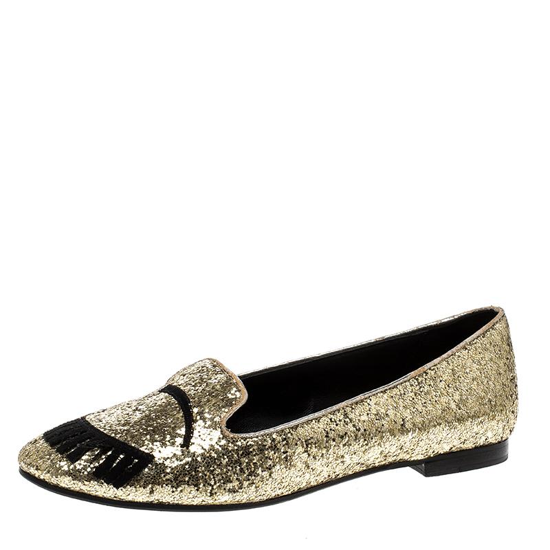 464602818 ... Chiara Ferragni Gold Glitter Flirting Ballet Flats Size 37. nextprev.  prevnext