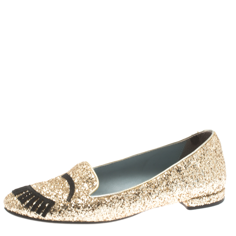 13c51c29e ... Chiara Ferragni Metallic Gold Coarse Glitter Flirting Smoking Slippers  Size 37. nextprev. prevnext