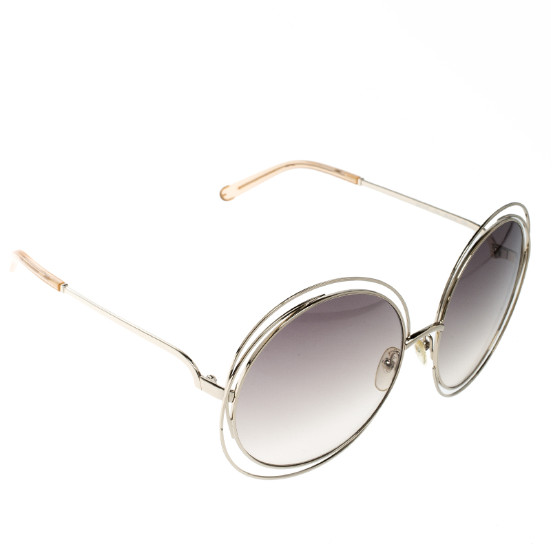 4c4008d8c Buy Chloe Gold/Brown Gradient CE114S Carlina Oversized Round ...