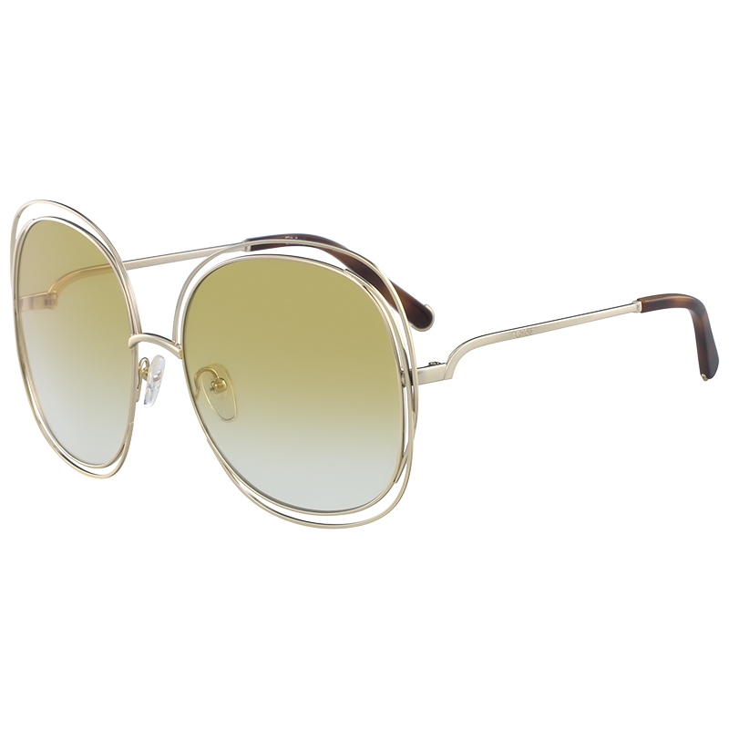 06dee00109eb Buy Chloe Gold Havana Yellow CE126S Oversized Sunglasses 153231 at ...