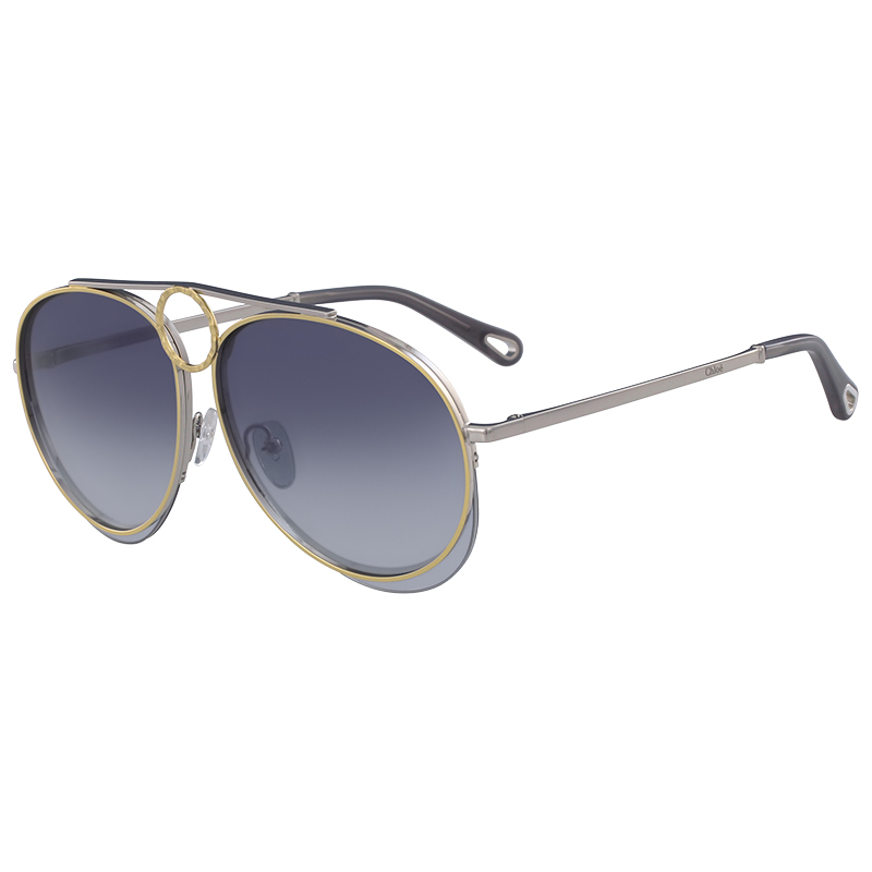 d2a04c14c139 Buy Chloe Silver Gold Blue CE144S Aviator Sunglasses 153241 at best ...