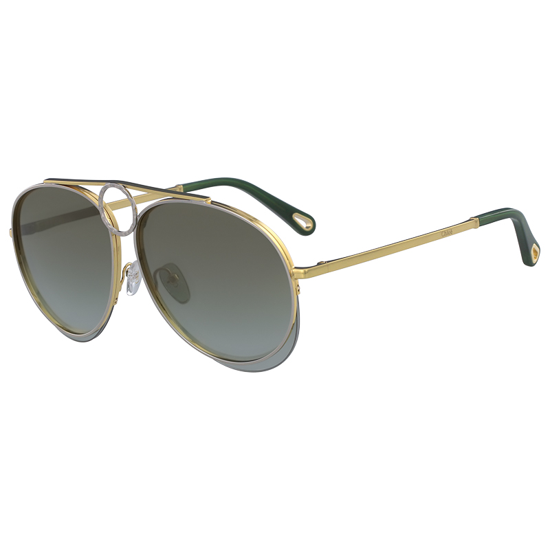 Chloe Gold/Silver/Green CE144S Aviator Sunglasses, Multicolor