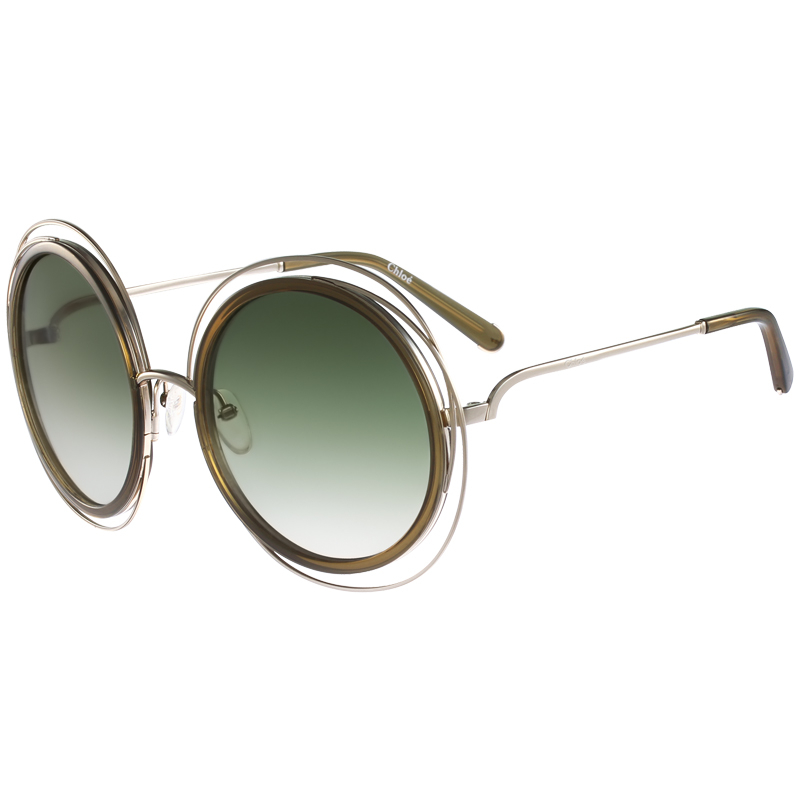 4efacdf4d185 Buy Chloe Gold Khaki CE120S Round Sunglasses 154356 at best price