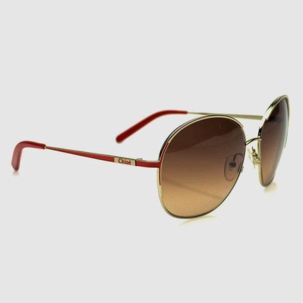 f160fbe068 Buy Chloé Gold Red CE104S Round Womens Sunglasses 32100 at best price