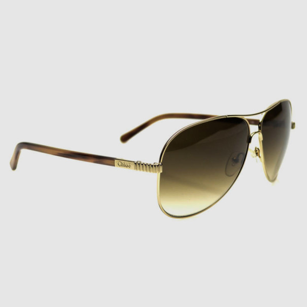 Chloé Gold and Brown CE102S Aviator Sunglasses