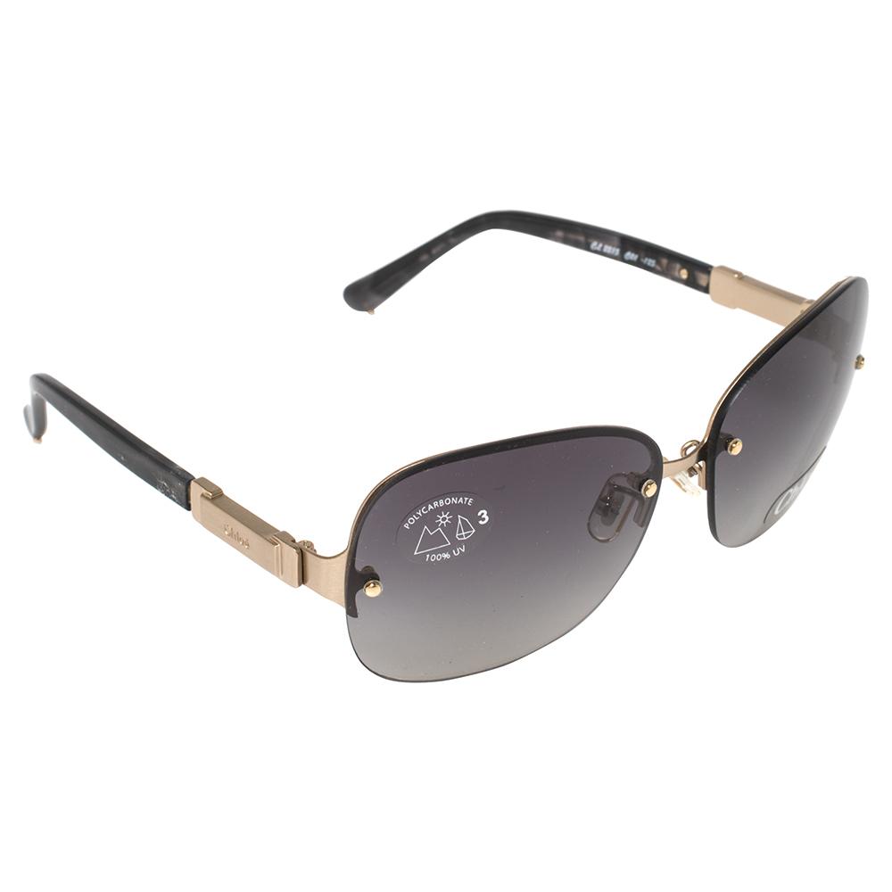 Pre-owned Chloé Black/gold Cl 2215 Gradient Rimless Sunglasses