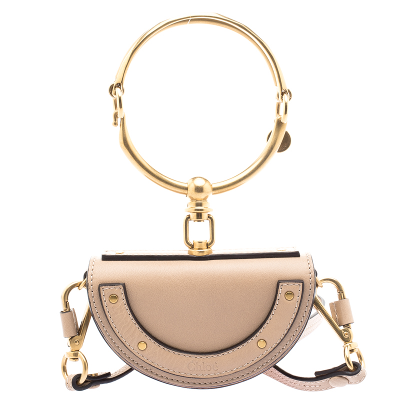 1dd0687155 Chloe Beige Leather Mini Nile Minaudière Crossbody Bag