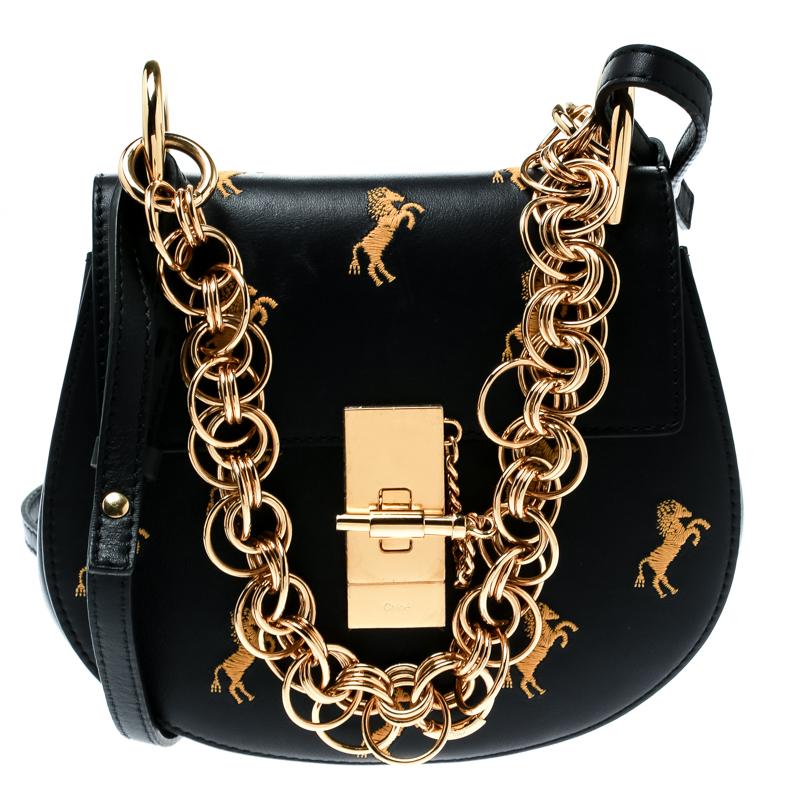 ef89966b3f Chloe Black Bijou Embroidered Little Horses Leather Small Drew Crossbody Bag