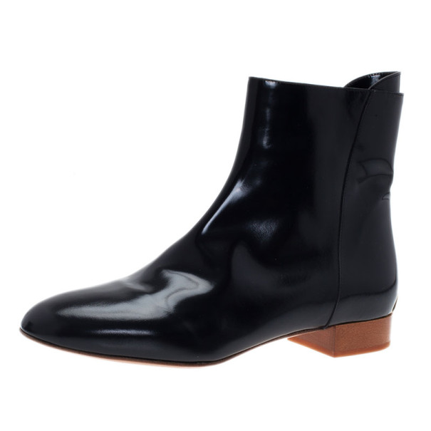 Chloe Black Patent Leather Ankle Boots Size 38.5
