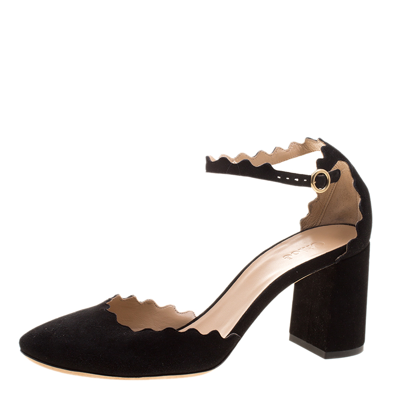 ed20f0ff08 Buy Chloe Black Scalloped Suede Ankle Strap Block Heel Sandals Size ...