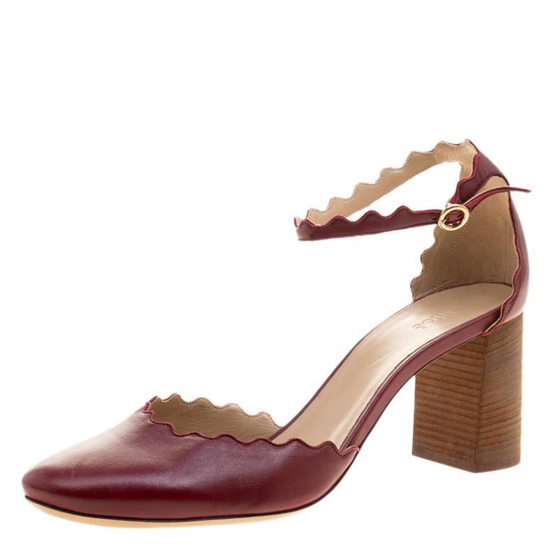 c1050d3eff6a ... Chloe Burgundy Leather Lauren Scallop Trim Ankle Strap Block Heel Pumps  Size 42. nextprev. prevnext