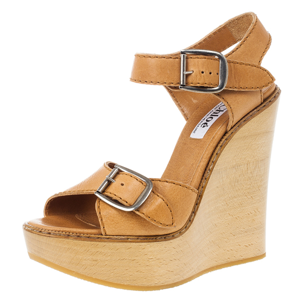 e12b6a8883213f ... Chloe 60th Anniversary Beige Leather Wooden Wedge Sandals Size 38.5.  nextprev. prevnext