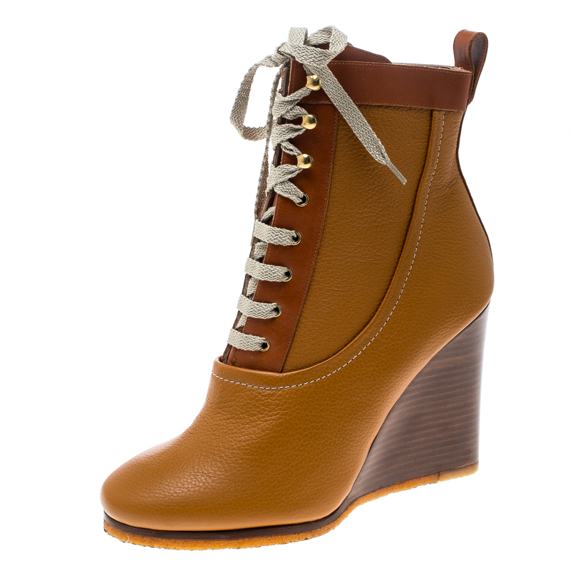 7296bf1f6d4df ... Chloe Brown Leather Lace Up Wedge Ankle Boots Size 38. nextprev.  prevnext