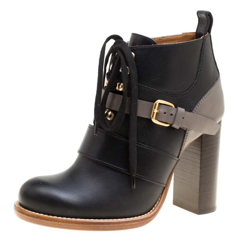 f87d3ad7 Chloe Two Tone Leather Block Heel Lace Up Ankle Boots Size 36