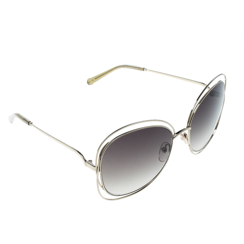 Chloe Gold/Green Gradient CE119S Round Oversized Sunglasses