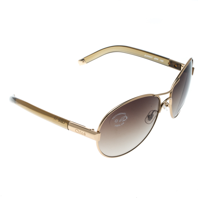 a53c07b9bf1e Buy Chloe Gold Brown Gradient CL2207 Aviator Sunglasses 157457 at ...