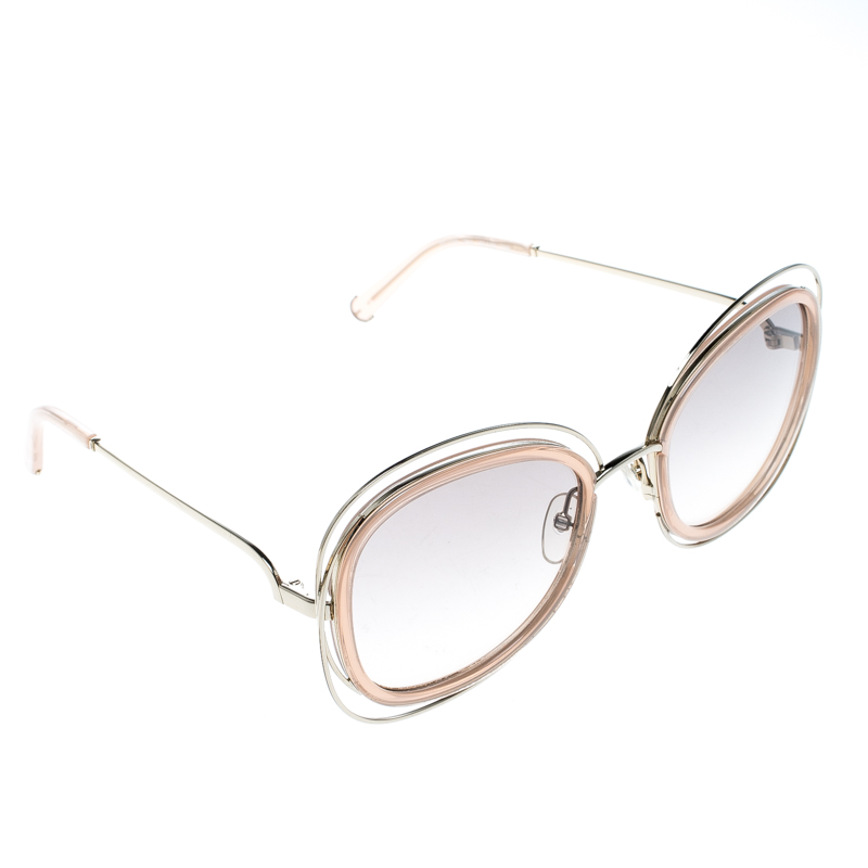 Chloe Peach/Brown Gradient CE123S Carlina Oversized Square Sunglasses