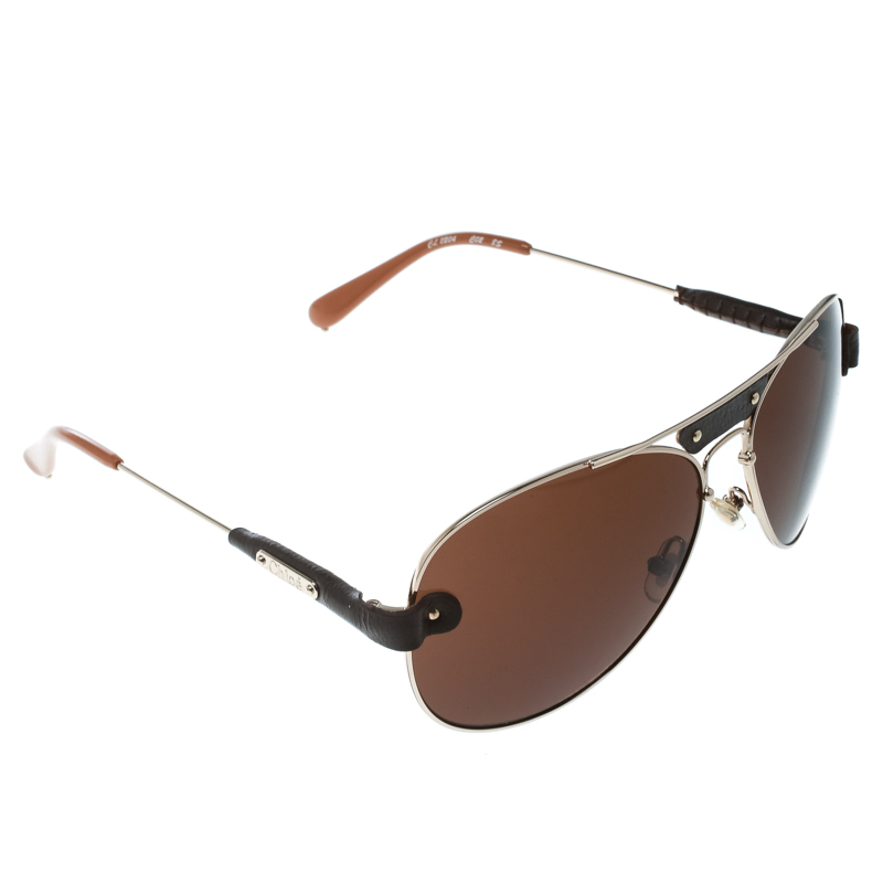 827212b73291 Buy Chloe Gold   Brown Cl2204 Leather Trim Aviator Sunglasses 172445 ...