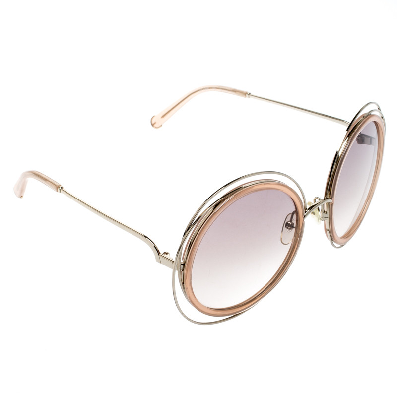 Chloe Gold Transparent Peach/ Brown Pink Gradient Carlina CE120S Round Oversize Sunglasses