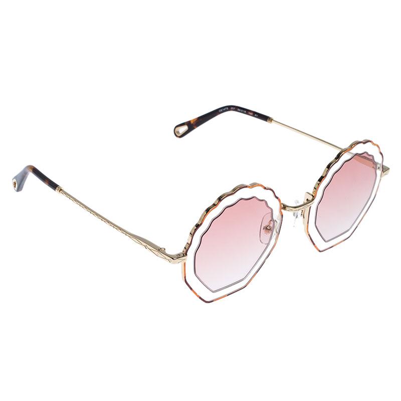 Chloé Havana Sand/Rose Gradient CE147S Tally Scalloped Geometric Sunglasses