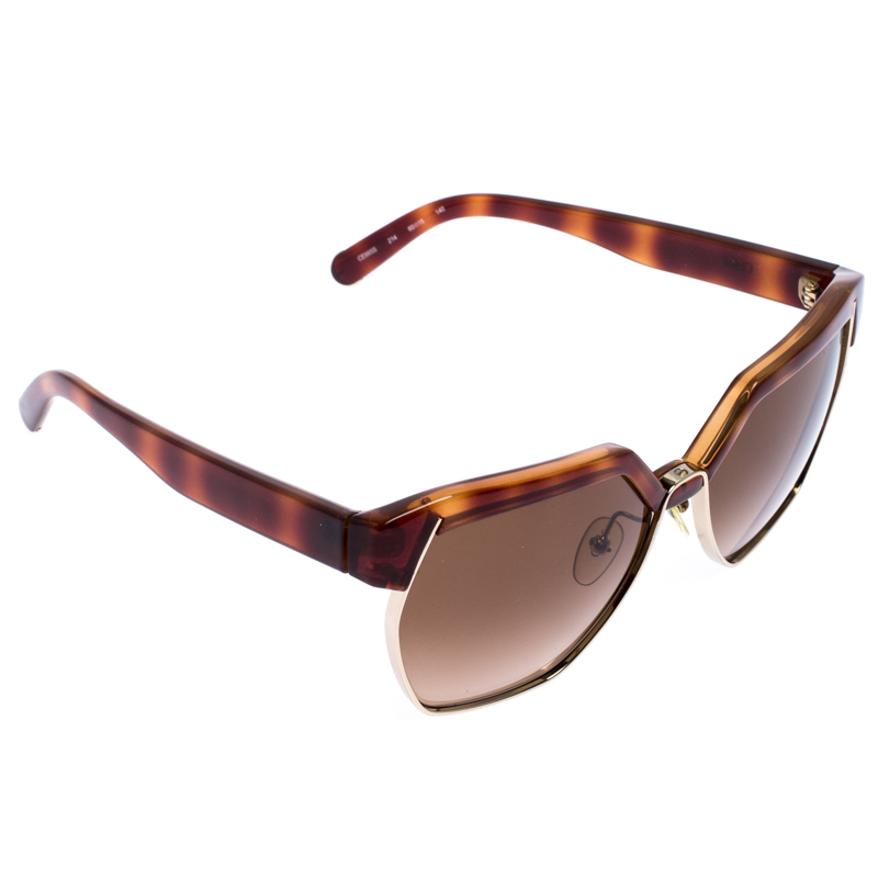 Chloe Brown Gradient Dafne Geometric Metal Mix Sunglasses