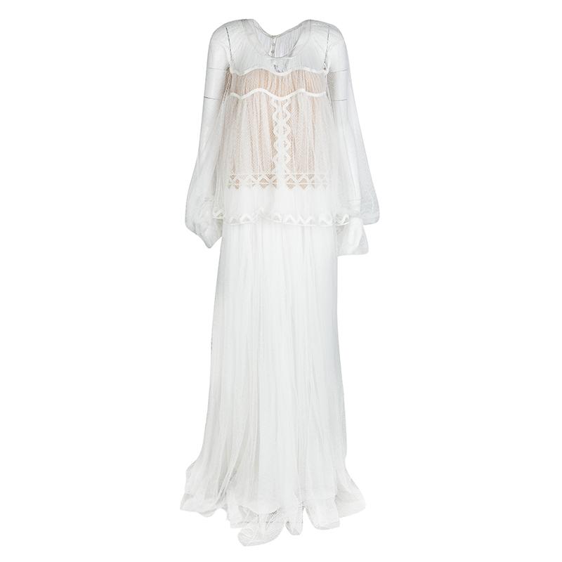 4293b83acb Buy Chloe White Herringbone Lace Long Sleeve Maxi Dress M 123663 at ...
