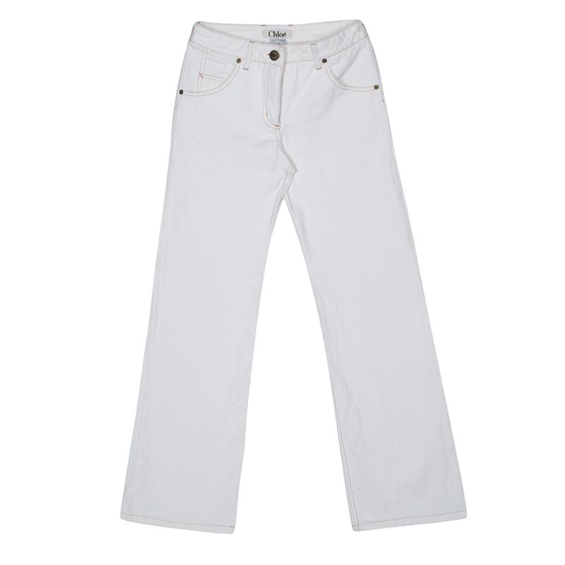 Купить со скидкой Chloe Off White Flared Bottom Jeans S