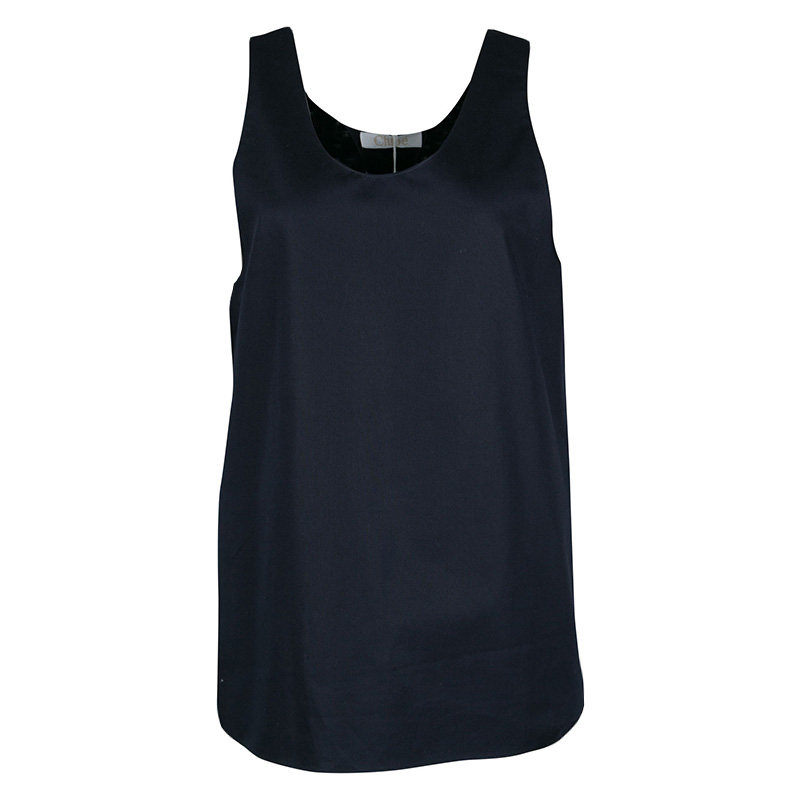 f940667147dd54 Buy Chloe Navy Blue Woven Cotton Sleeveless Top M 140356 at best ...