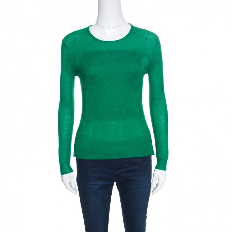 Купить со скидкой Chloe Emerald Green Tea Cashmere and Silk Textured Sweater S