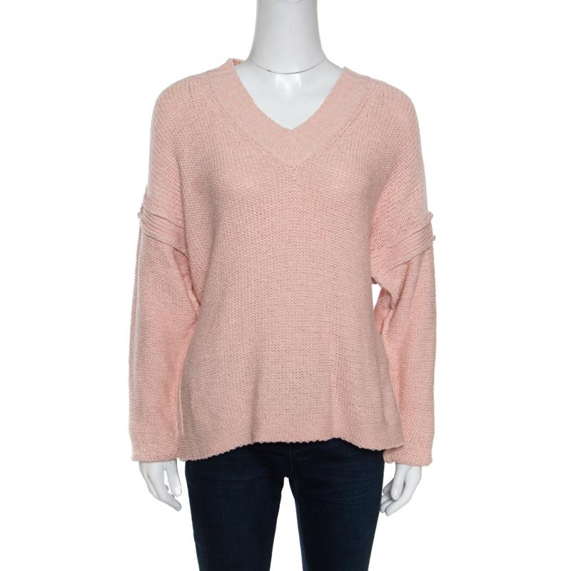 Купить со скидкой See By Chloe Silver Pink Cotton Side Slit Detail V Neck Sweater S