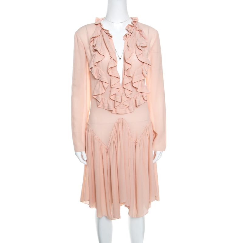 f14a152daa Chloe Tender Pink Silk Ruffle Detail Long Sleeve Dress S