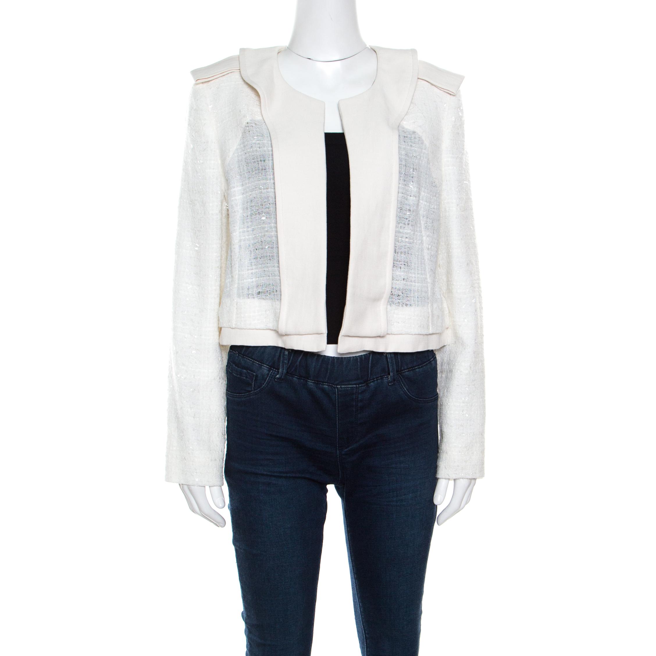 9c4491ebd0 Chloe Sail White Textured Open Front Jacket S