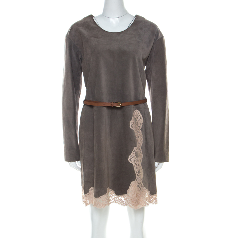Chloe Grey Suede Lace Belted Short Dress S