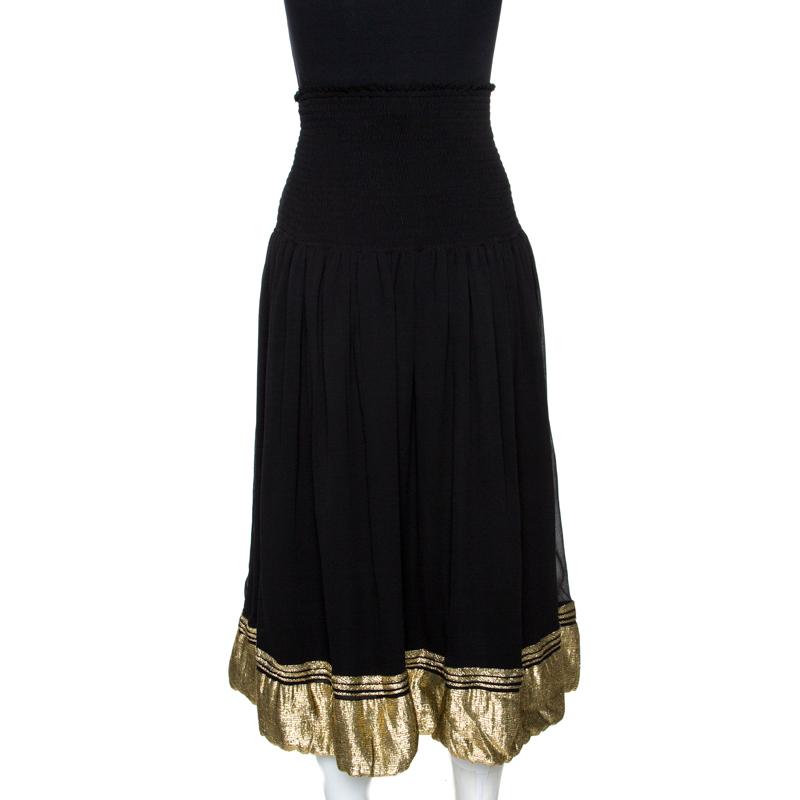 ChloÉ Black Crepe De Chine Silk Smocked Waist Midi Skirt L