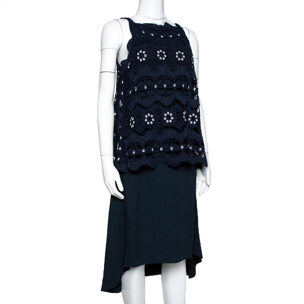 Chloe Navy Blue Cutout Lace Overlay Sleeveless Dress S