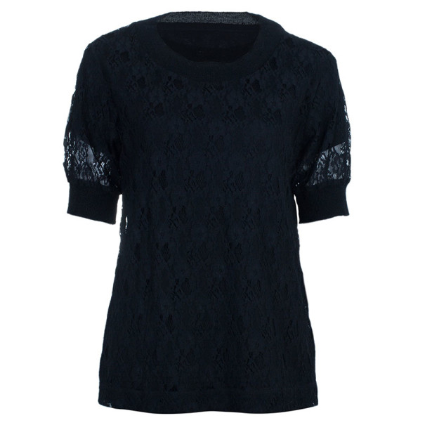See by Chloe Black Lace Cotton Top M