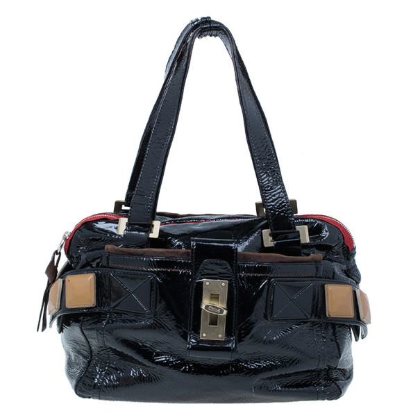 Chloe Black Patent Leather Audra Tote