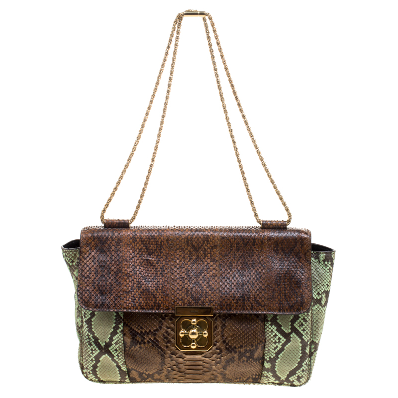 9cbed1441ba ... Chloe Brown Green Python Large Elsie Shoulder Bag. nextprev. prevnext