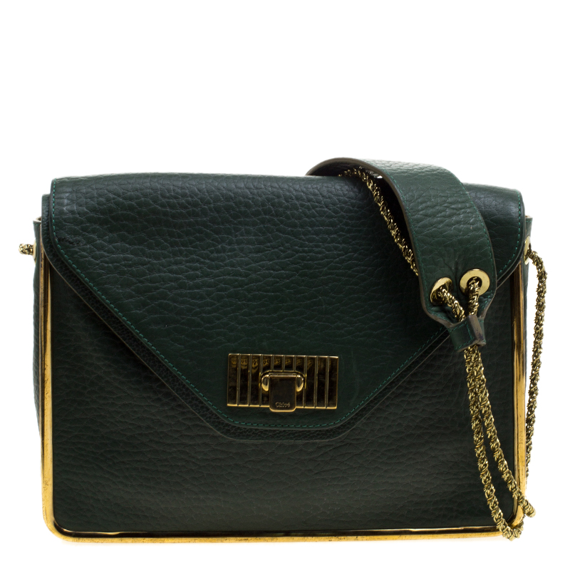 af6519b8d8 ... Chloe Green Pebbled Leather Medium Sally Flap Shoulder Bag. nextprev.  prevnext