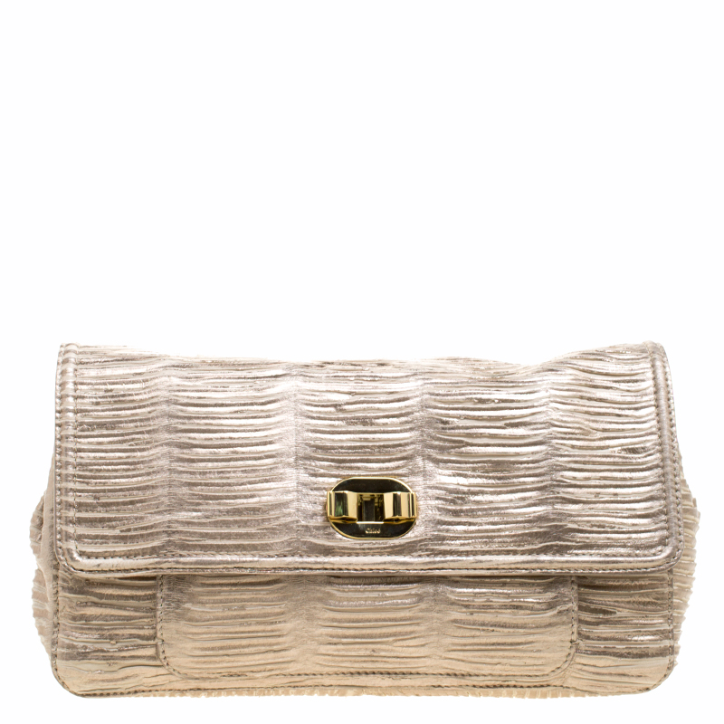 d200bcc993 Buy Chloe Metallic Beige Pleated Leather Clutch 120552 at best price ...