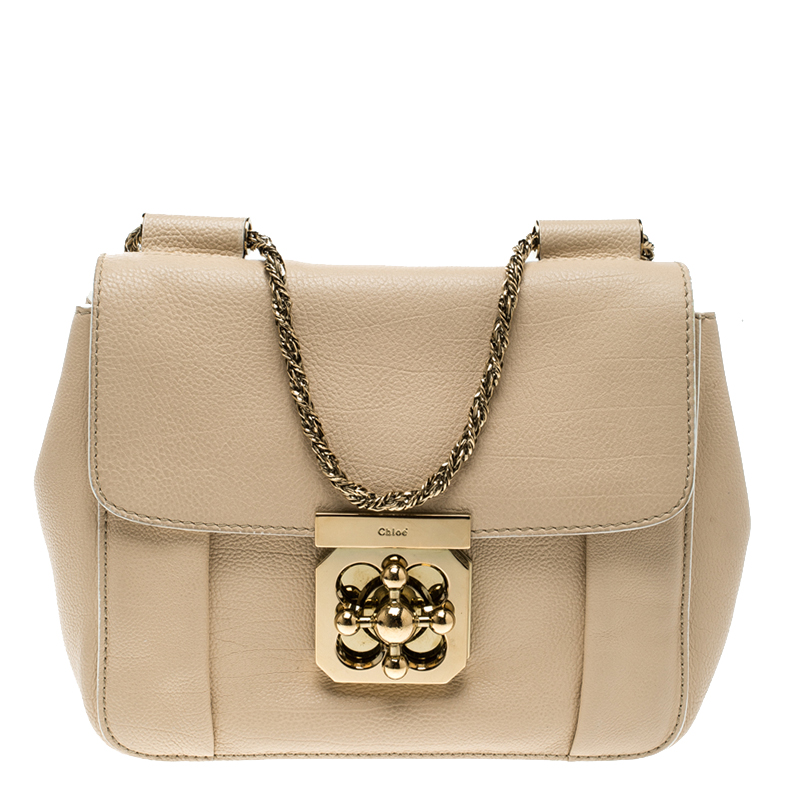aeefd4de1842 Buy Chloe Beige Leather Small Elsie Shoulder Bag 126543 at best price
