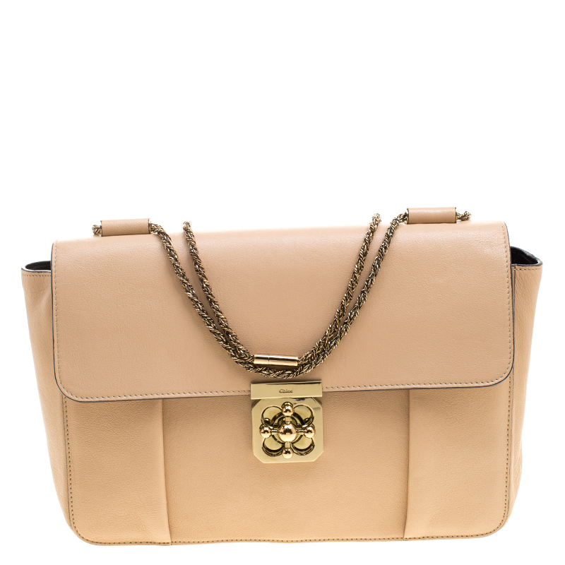 40e47cd7187f Buy Chloe Peach Leather Large Elsie Shoulder Bag 126799 at best price