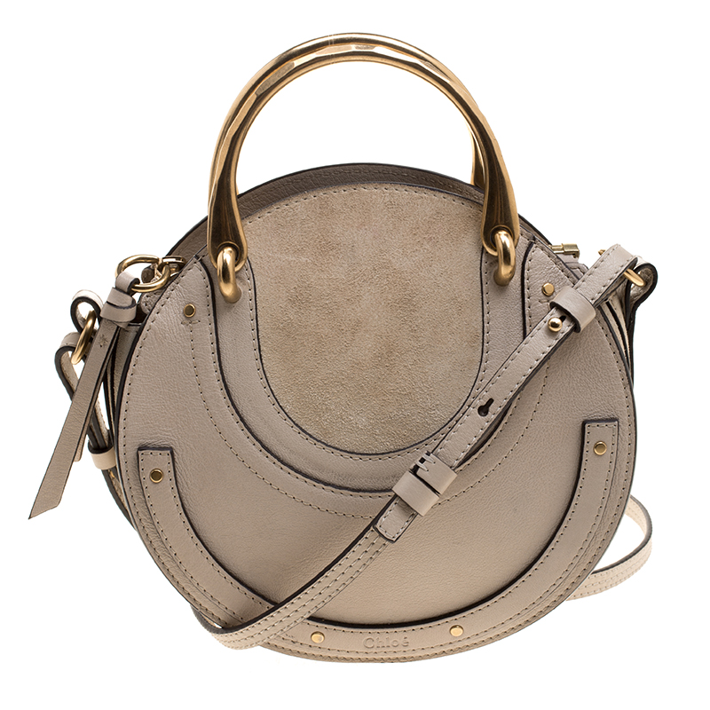 75c32613bb Chloe Beige Leather and Suede Small Pixie Round Shoulder Bag