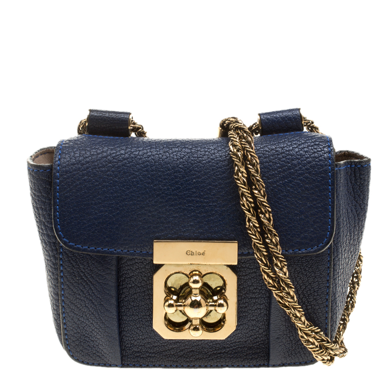 Chloe Blue Leather Mini Elsie Crossbody Bag