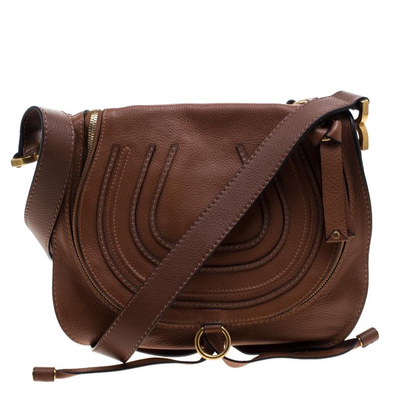 Chloe Brown Leather Medium Marcie Crossbody Bag