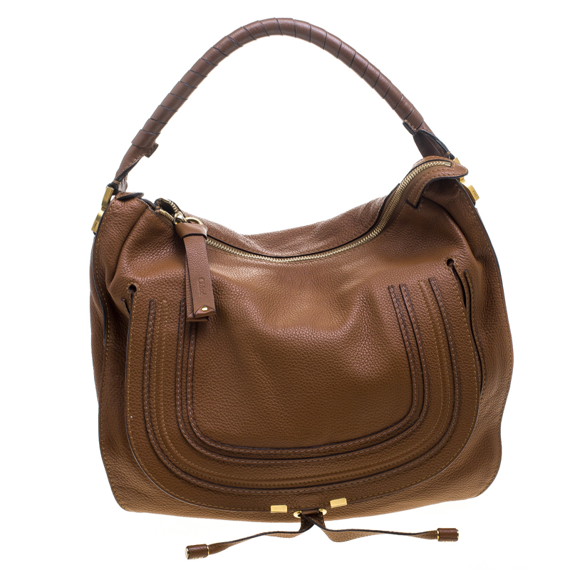 a68a95a2f1ea Buy Chloe Brown Leather Large Marcie Hobo 144097 at best price